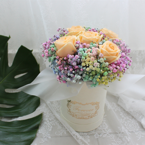 Roses and Baby's breath flower box