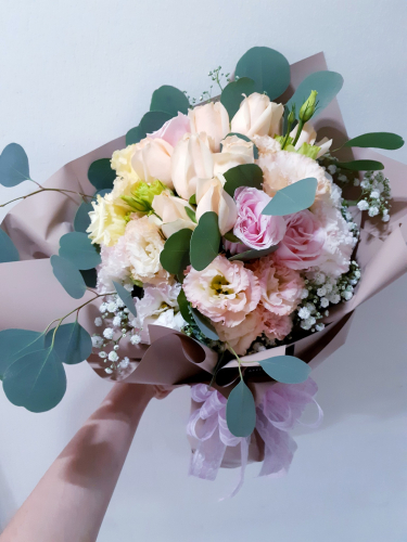 Hand Bouquet - Eustomas and Roses