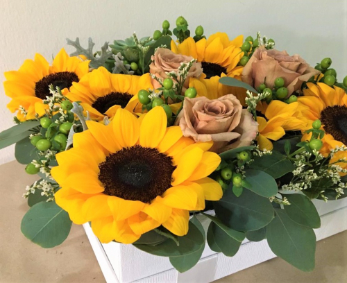 Sunflowers with Roses in Box