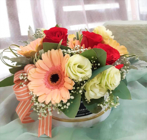 Gerberas & Red Roses in Box Arrangement