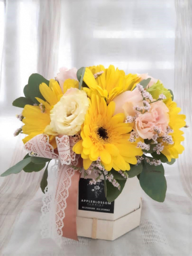 Yellow gerbera with Eustoma In Box