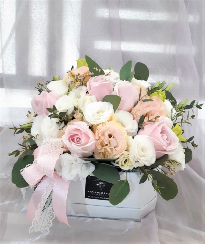 Sweety Pink Roses with Eustoma In Box