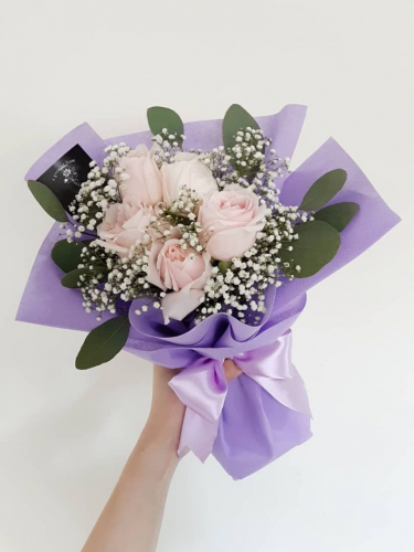 Pink Roses With Baby Breath