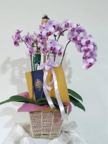 Hari Raya Orchids arrangement with Chocolate Moist Cake