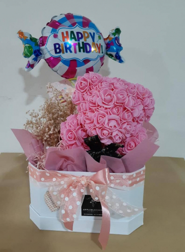 Artificial Rose in Bear Shape With Balloon In Box