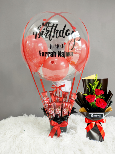 Kit Kat Hot Air Balloon with Flower Bouquet