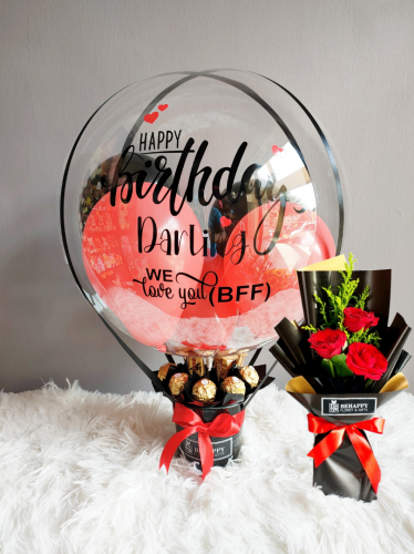 Hot Air Balloon with Rose Bouquet