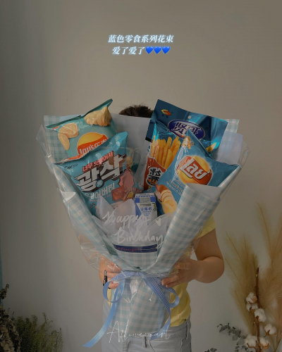 Blue series imported snacks bouquet