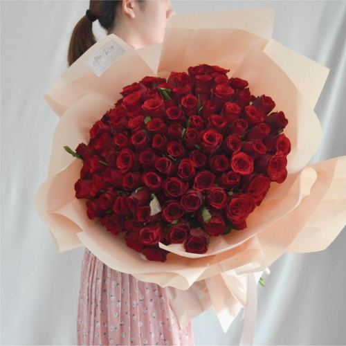 Valentine's Day 2021 Only You Red Rose Fresh Flower Bouquet (99 Roses)