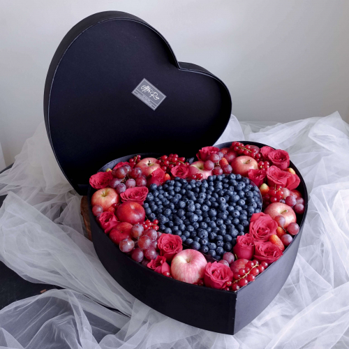 Heart Shape Premium Fresh Flower & Fruit Box by AFTERRAINFLORIST