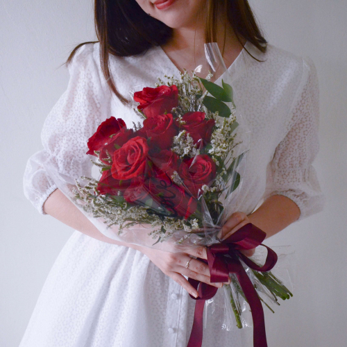 Valentine's 2021 Hearty Love Heartshape Red Rose Fresh Flower Bouquet