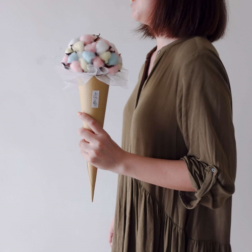 Ice Cream Cotton Cone Dried Flower Bouquet