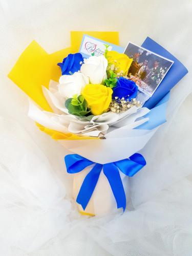 Blue Mix Soap Flower Bouquet ~ Nationwide (COURIER DELIVERY)