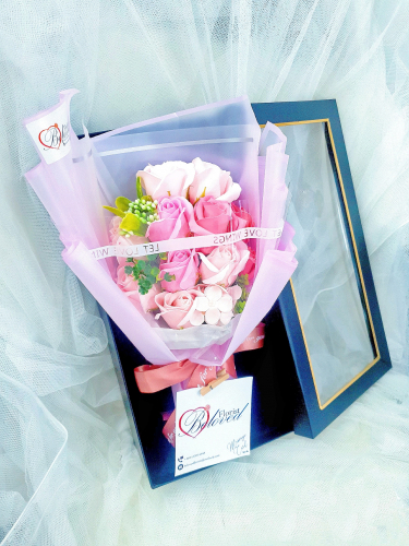 Pink Soap Flower Bouquet In Box