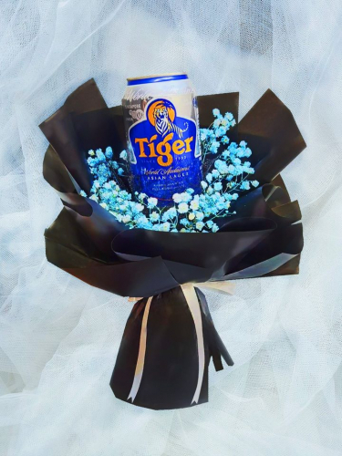 Blue Baby Breath With Tiger Beer Bouquet