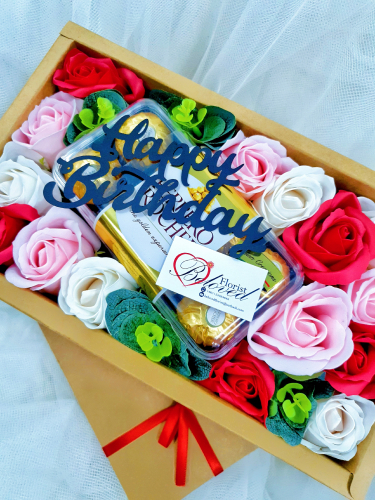 Soap Rose With Ferrero Rocher Gift Box  ~ Nationwide (COURIER DELIVERY)