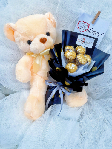 Ferrero Rocher Bouquet With Teddy Bear 30cm