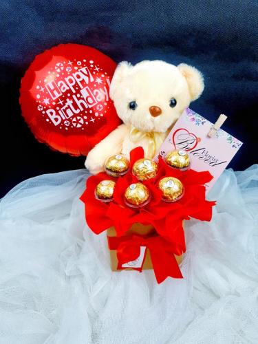 Teddy Bear Ferrero Rocher With Foil Balloon Bloom Box