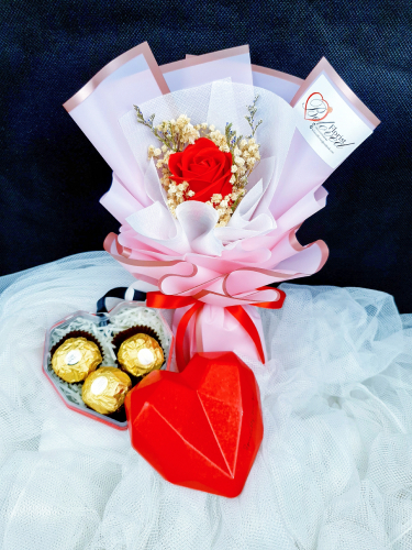 Single Soap Rose Bouquet With Love Gift Box