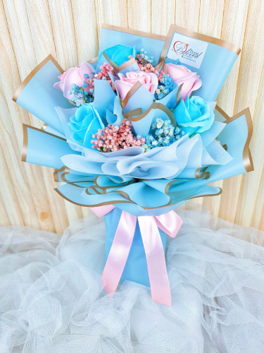 Pink & Blue Soap Rose Bouquet (Valentine 2021)