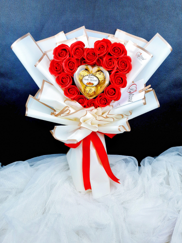 Soap Roses & Love Chocolate Shaped Bouquet (Valentine 2021)