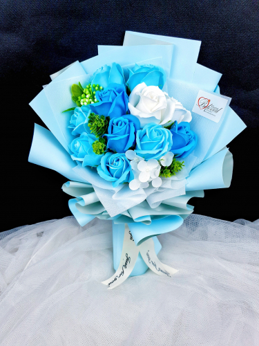 Blue Mix Soap Rose Bouquet