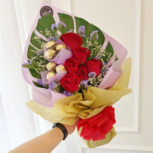 Flowers With Ferrero Rocher Hand Bouquet 02