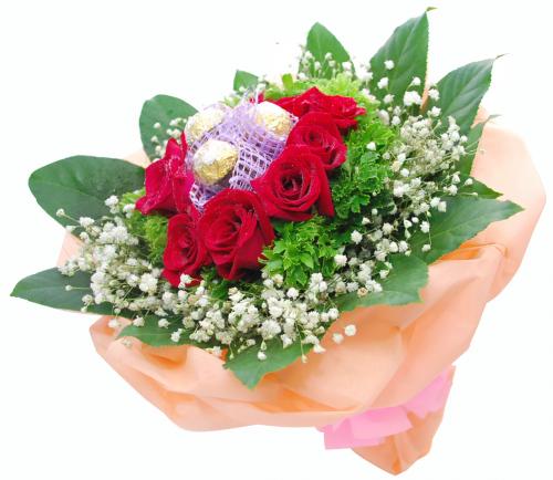 Flowers With Ferrero Rocher Hand Bouquet 03