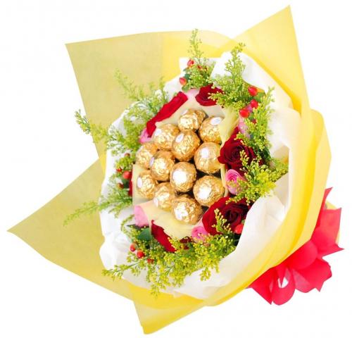 Flowers With Ferrero Rocher Hand Bouquet 11
