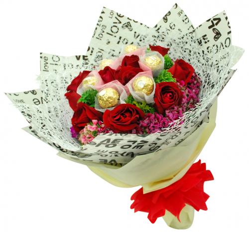 Flowers With Ferrero Rocher Hand Bouquet 12