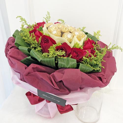 Flowers With Ferrero Rocher Hand Bouquet 13