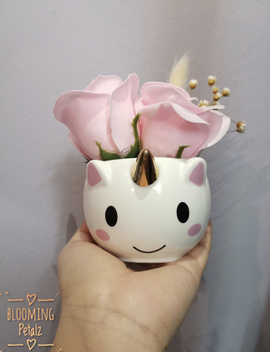 Kawaii Unicorn with Pink Soap Roses