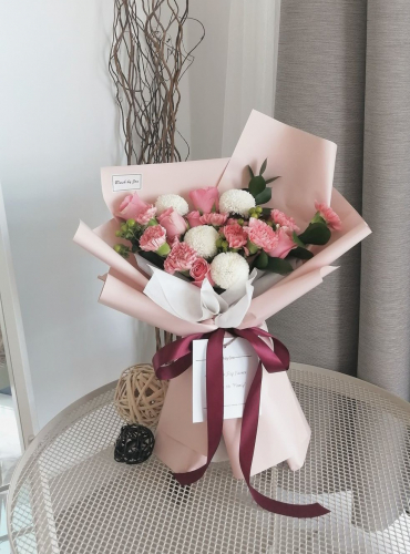Pink Petals - Roses & Carnation Bouquet