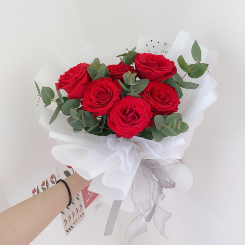 Classic Red Roses in White