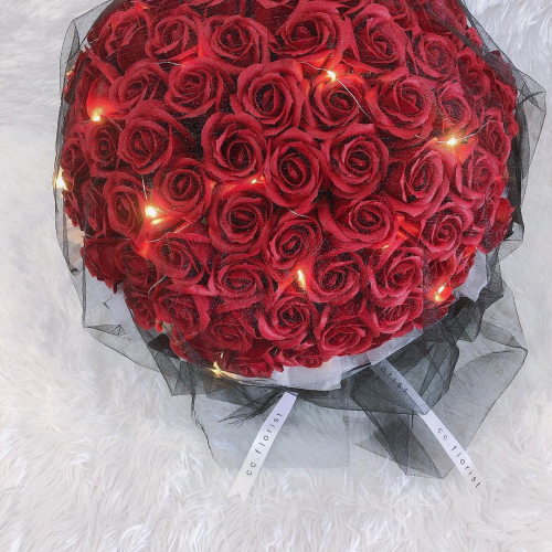 99 Red Soap Rose with Fairy Light (Soap Rose)