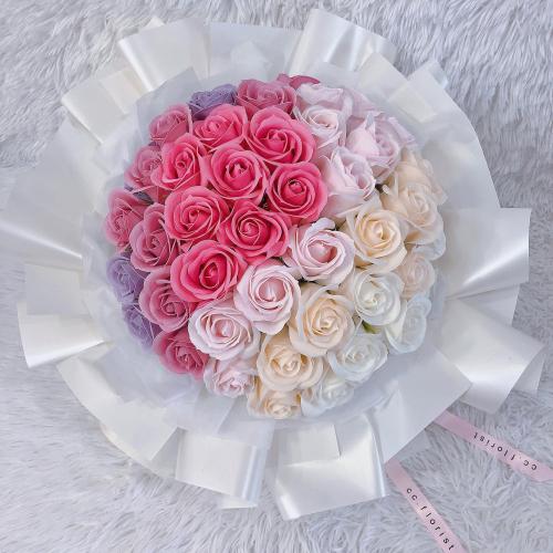 50 Pastel Theme Rose Bouquet (Soap Rose)