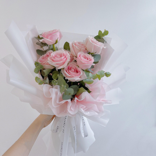 QiXi Valentines Day (Fresh Pink Roses Bouquet)