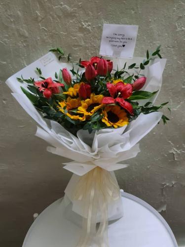 Sunflower Tulip bouquet