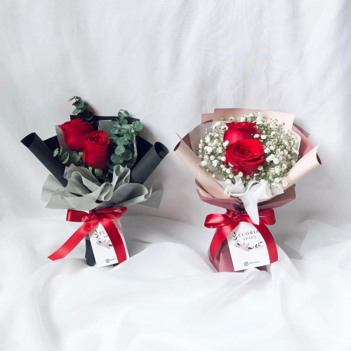 Red Roses & Eucalyptus/ Baby Breath