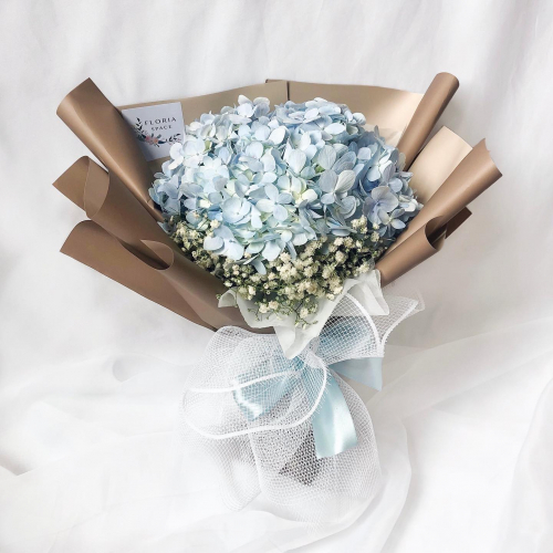 Blue Hydrangea & Baby Breath