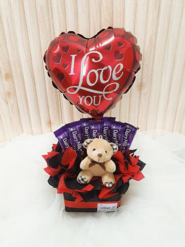 T009 Chocolate With Teddy Bear Arrangement