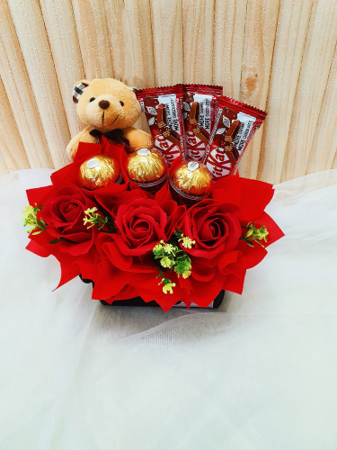 T010 Chocolate With Teddy Bear Arrangement