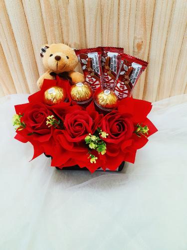 T010 Chocolate With Teddy Bear Arrangement