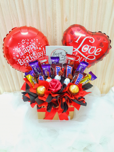 Soap Rose Mix Chocolate With Balloon Box