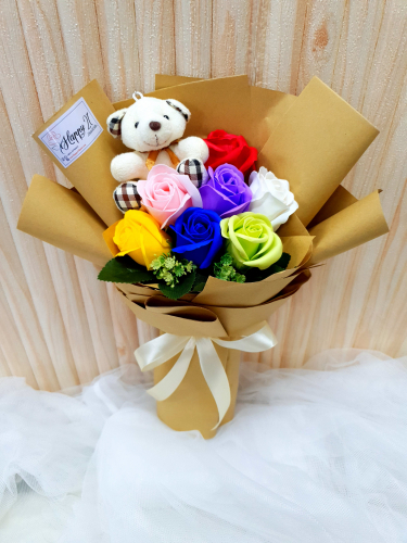 Rainbow Soap Rose With Bear Bouquet