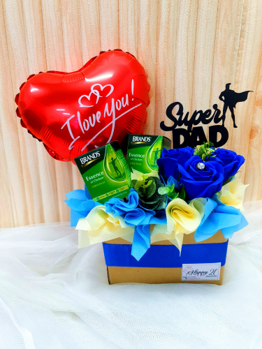 Father's Day 2020 Blue Soap Flower With BRAND'S® Essence Arrangement