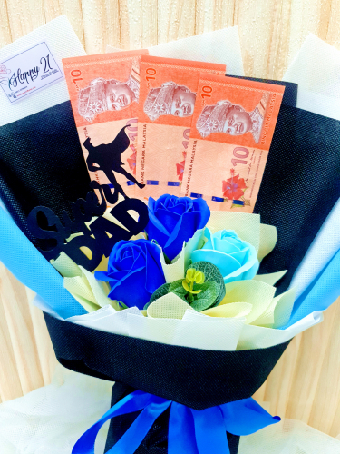 Father's Day 2020 Blue Soap Rose With Money Bouquet