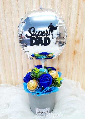 Blue Soap Rose Ferrero Rocher With Balloon