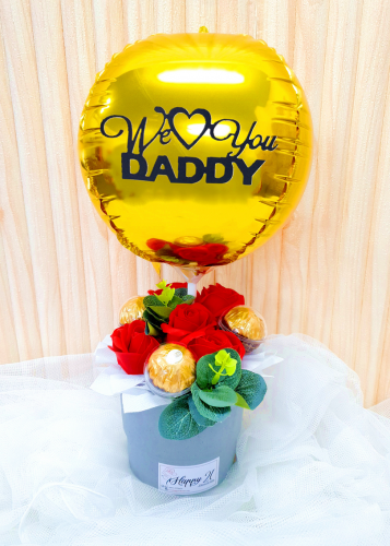 Red Soap Rose Ferrero Rocher With Balloon