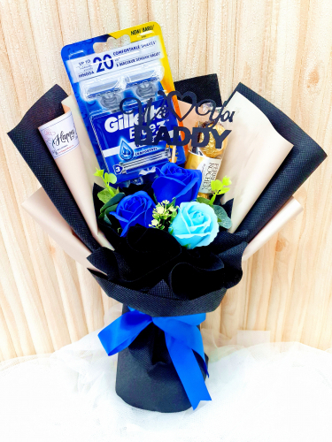 Blue Soap Rose Ferrero Rocher With Gillette Bouquet